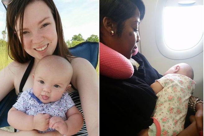 Frau hilft Mutter mit brüllendem Säugling im Flugzeug