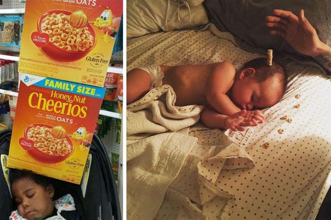 Warum Papas auf der ganzen Welt jetzt Cheerios auf ihren schlafenden Babies stapeln