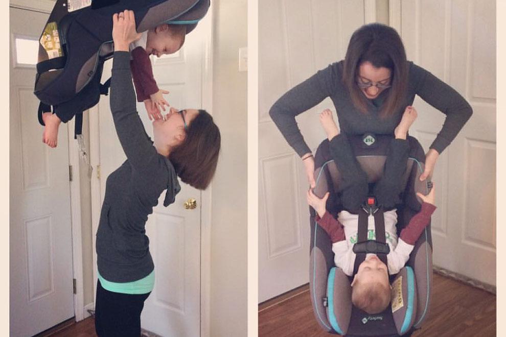 Genial: Deshalb dreht diese Mutter ihr Kind im Kindersitz auf den Kopf
