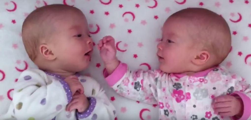 Eineiige Zwillinge starten zuckersüße Konversation