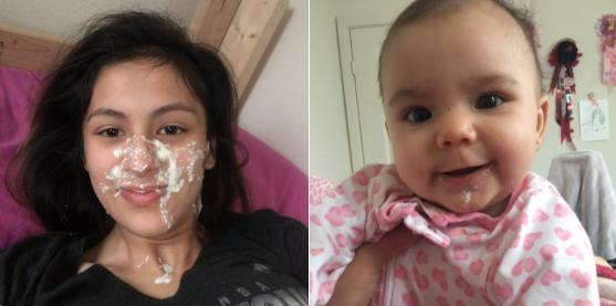 Eine Mama wird von ihrem Baby angekotzt und das Netz reagiert so