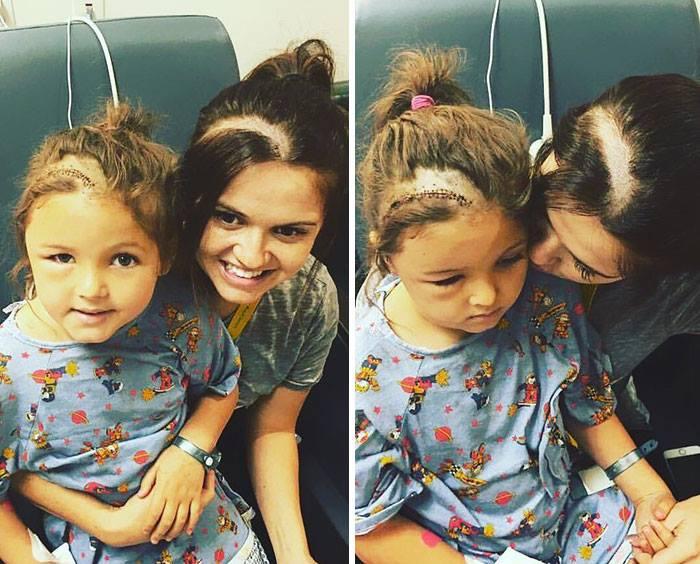 Solidarisch: Mutter rasiert sich ebenfalls den Kopf wie ihre kranke Tochter