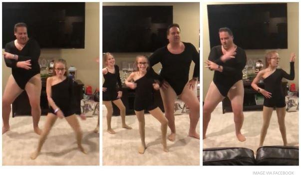 Dieser Vater tanzt mit seinen Töchtern. Im Body. Zu Beyoncé.